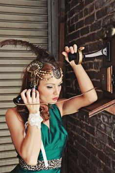 Cleopatra Flapper Feather Headdress - Gold, Bronze, Copper and Greens  - Limited -  CLEO. $245.00, via Etsy.