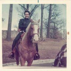 Elvis horseback riding at Graceland