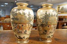 A Beautiful Pair Of Meiji Period Japanese Satsuma Vases