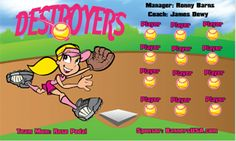 Destroyers digitally printed vinyl Softball sports team banner. Made in the USA and shipped fast by Banners USA. http://www.bannersusa.com/art/templates_2/digital/banners/DSB_banners.php