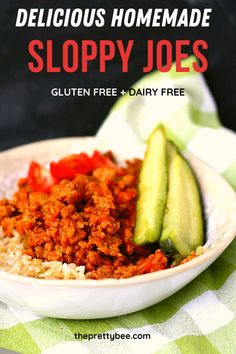 My grandma made these sloppy joes all the time - it doesn't get any better than this classic recipe. You will love the flavorful sauce! So good. #sloppyjoes #dinner #glutenfree Gluten Free Recipes For Dinner, Delicious Dinner Recipes, Dairy Free Recipes, Beef Dishes, Food Dishes, Main Dishes, Turkey Sloppy Joes, Homemade Sloppy Joes, Food Allergies