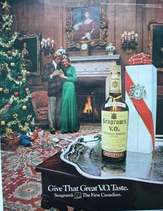 1972 Seagrams Whiskey Christmas Presents Tree Vintage Print ad