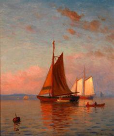 Sunset Coastal Scene With Ships - Lemuel D. Eldred (1848 – 1921)