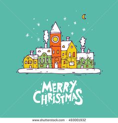 Happy New Year and Merry Christmas. Winter landscape of the old town, snow. Lettering, calligraphy, hand-drawn, lino-cut. Greeting card. Flat design vector illustration.