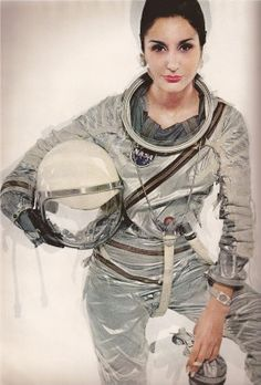 Naty Abascal wearing a NASA Mercury spacesuit in a famous series of celebrity images shot by Richard Avedon in April 1965 for Harper's Bazaar. Paul McCartney and Jean Shrimpton were also photographed wearing the suit.