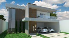 Sobrado S005: Projeto de sobrado com 3 quartos, sendo 1 suíte, 3 banheiros e 2 vagas na garagem. Fachada com elementos modernos e bem combinados.
