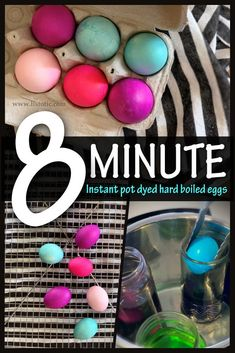 Half dozen hard boiled eggs dyed with bright blue pink and purple dye in the instant pot for 8 minutes. Half dozen hard boiled eggs dyed with bright blue pink and purple dye in the instant pot for 8 minutes. Boil Easter Eggs, Easter Egg Dye, Coloring Easter Eggs, Hard Boiled, Boiled Eggs, Instapot Eggs, Mccormick Food Coloring, Purple Dye, Pink Food Coloring
