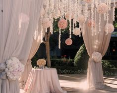 magical.. I love the idea of this! except the curtains could be gray like the dresses and the poms babys breath, and the flower bunches peonies and anenomies..
