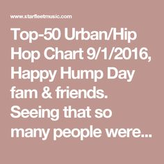 Top-50 Urban/Hip Hop Chart 9/1/2016, Happy Hump Day fam & friends. Seeing that so many people were on vacation last week we through we'd send you a copy of our 9/1 Urban/Hip Hop charts to get you back on track. If you're on our charts you've got a hit. If you're charting 10 & up you've got a major hit! If you're not on our bi-weekly newsletter list & need to be, reply back or drop by our website & sign up. Now let's dance!