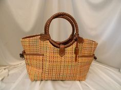 Fossil Woven Tote Leather Braided Handle Purse Bag Shopper Tortoise Shell Key…