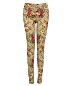 Retro Skinny Jeans with Floral Print