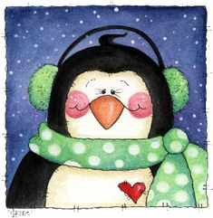 Penguins and friends - Laurie Furnell - puntoceleste - Picasa Web Albums Christmas Bird, Christmas Drawing, Christmas Paintings, Christmas Images, Winter Christmas, Christmas Crafts, Christmas Ornaments, Xmas, Christmas Graphics