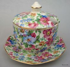 Erphila Chintz Sugar Bowl & Lid attached Saucer Devon Pattern Czech 1920 -40 Vtg #ErphilaER