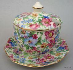 Erphila Chintz Sugar Bowl & Lid attached Saucer Devon Pattern Czech 1920 -40 Vtg #ErphilaER