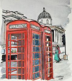 Jukebox, Sketching, Water Colors, London, Drawings, Sketch, Sketches, Tekenen