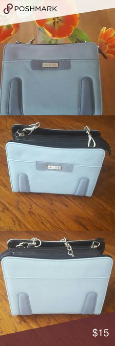 Miche Petite Shell Brecken Light blue with darker blue tabs. Petite Shell named Brecken. Not used except to take pictures. Would look great with jeans or as your pop of color! NWT Miche Bags