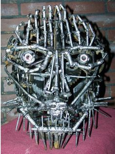 Metal Face Welded Scrap Sculpture Up by ARTicklesME on Etsy, $189.95