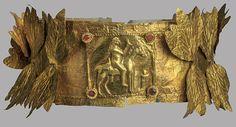 Греческое золото диадема с листьями, Сердолик кабошон и лошадь с всадником, Пантикапея, 3 веке до н.э.