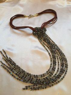 """Колье-галстук """"Черный бриллиант"""" – купить в интернет-магазине на Ярмарке Мастеров с доставкой"""
