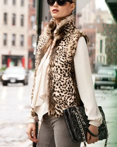Leopard-Print Rabbit Fur Vest - Neiman Marcus
