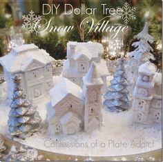 CONFESSIONS OF A PLATE ADDICT DIY Dollar Tree Snow Village