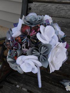 Custom COMIC BOOK Paper Flower Wedding Bouquet. Bride, Bridesmaid.  Custom Orders Welcome by TreeTownPaper on Etsy
