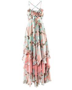 Bohemia Light-green Floral Spaghetti Strap Chiffon Dress - Sheinside.com