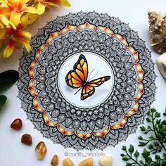 Mandala and butterfly by Merith Mandala Art Therapy, Mandala Art Lesson, Mandala Artwork, Mandala Painting, Mandala Drawing, Tape Wall Art, Shadow Drawing, Watercolor Mandala, Butterfly Mandala