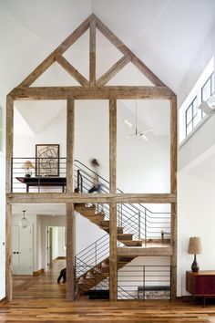 Reclaimed barn wood in a skeletal frame injects rustic style into an otherwise modern Berkshires family home by : - Architecture and Home Decor - Bedroom - Bathroom - Kitchen And Living Room Interior Design Decorating Ideas - Barn Living, Home And Living, Living Room, Living Spaces, Style At Home, Smart Home Design, Timber Beams, Exposed Beams, Timber Stair