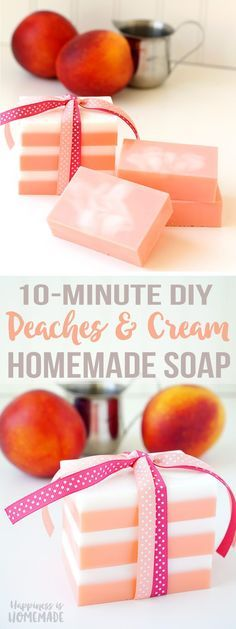 This Peaches and Cream Soap smells incredible, and you can whip up a batch in just a few minutes! Makes a great DIY homemade holiday gift idea! Perfect for friends, family, neighbors, and teachers!