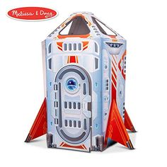 Rocket Ship Indoor Play House, multicolor, Melissa & Doug Let imaginations take flight with this roomy rocket ship! The large, extra thick and sturdy cardboard space ship playhouse can be positioned upright for Indoor Playhouse, Cardboard Playhouse, Cardboard Toys, Cardboard Furniture, Playhouse Furniture, Star Citizen, Kite Shop, Outer Space Party, Puzzle Shop