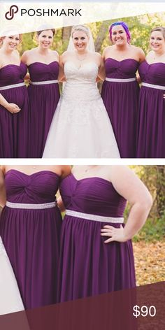 Purple bridesmaids dress. Doesn't wrinkle! So amazing. Strapless purple dress. Could cut to make cocktail dress, worn once Dresses Strapless