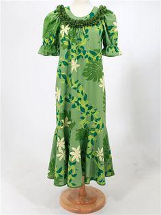 Good Times Monstera & Tiare Green Poly Cotton Hawaiian Long Muumuu Dress