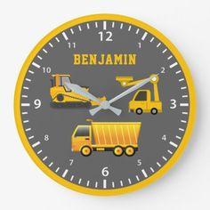 Excavator Dump Truck Construction Theme Kids Room Large Clock