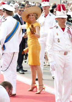 2 juli 2011 - Máxima bij het koninklijk paleis in Monaco voor de trouwdag van prins Albert en zijn Charlene.