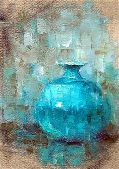 """""""Oil Sketch of Blue Vase"""" - Original Fine Art for Sale - © Julie Ford Oliver"""