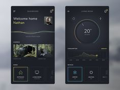 Some explorations with a dark UI and colorful accents for a smart home app. In this concept the app speaks to the user when certain actions are performed as shown with the waveform. For the finer d...