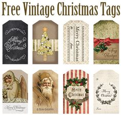 Grab these FREE Printable Vintage-inspired Christmas tags! Great for presents and holiday crafts - they are absolutely gorgeous! Christmas Tags Printable, Christmas Labels, Christmas Paper, Christmas Images, Christmas Wrapping, Vintage Christmas, Xmas, Vintage Tags, Printable Vintage
