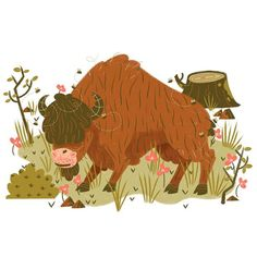 The scientific name for the #Bison is 'Bison Bison'.  #MUTI #illustration #character #design by studiomuti http://ift.tt/1geRk4S