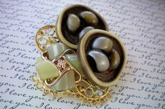 Double olive green button pin or brooch. A by OutsiderArtJewelry, $15.00