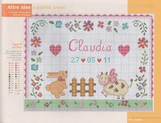 Ru / фото - 45 - logopedd punto croce bambino, ricamo a punto c Wedding Cross Stitch, Cross Stitch Baby, Cross Stitch Embroidery, Minnie Baby, Baby Disney, Baby Birth, Looney Tunes, Needlepoint, Baby Dolls