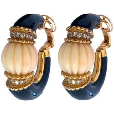 Boucheron 1960s White Coral Onyx Diamond Yellow Gold Earrings | From a unique collection of vintage hoop earrings at http://www.1stdibs.com/jewelry/earrings/hoop-earrings/