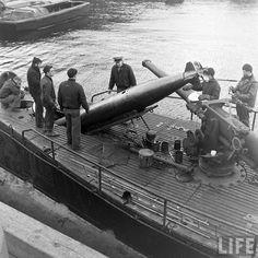 US Navy submarine loading torpedos