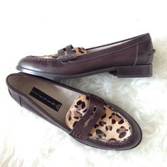 Steven By Steve Madden Leopard Fur Loafers A almost like new pair of Steven by Steve Madden leopard fur loafers, other than the soles which has some markings as shown in the pictures. Never worn other than from try ons at the store. The fur is real cow fur that's been dyed. Real upper leather. Super chic! Size 6. Leather is brown. Steven by Steve Madden Shoes Flats & Loafers