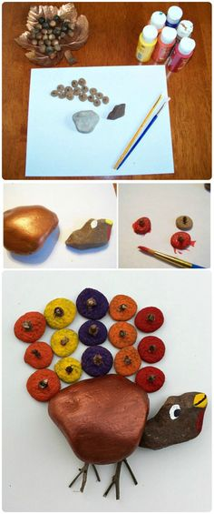 Nature + paints = adorable Thanksgiving craft!  Kids will love collecting items & creating this fun activity.
