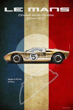 Ford Gt40, Vintage Frames, Vintage Posters, Vintage Vans, Car Posters, Car Drawings, Race Cars, Prints, Man Cave