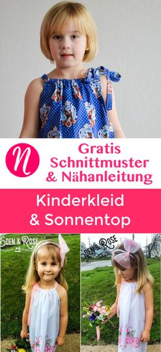 Freebook - Sonnentop und Mädchenkleid ❤ für 4 Monate - 14 Jahre ❤ PDF zum Ausdrucken ❤ Gratis Schnittmuster & Anleitung ✂ Nähtalente.de ✂ Freebook for a girls Top and Dress. Free PDF Sewing Pattern for 3 month - 14 years