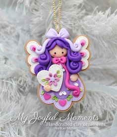 Handcrafted Polymer Clay Angel Ornament por MyJoyfulMoments en Etsy