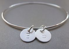 Personalised Silver Charm Bangle - Letter Initials Word Name Sterling 925 Hammered Bracelet Tags Disc Circle Handmade on Etsy, £16.99