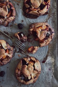 petite rustic fruit galettes with peaches and blackberries